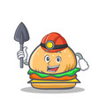 miner burger character fast food vector image vector image