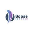 modern goose feather logo vector image
