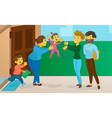 nanny with the child meets mum and father vector image vector image