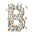 People crowd alphabet ABC letter B vector image