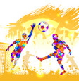 poster soccer player victory blow vector image vector image