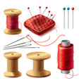 realistic set sewing supplies vector image