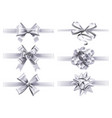 realistic white ribbons with bows festive vector image
