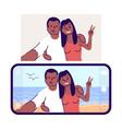 selfie flat couple in love taking self photo vector image