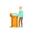 senior man using electronic self service payment vector image vector image