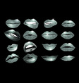 Set of 16 glamour lips with silver lipstick colors vector image vector image