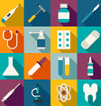 Set of Flat Style Medical Icons with Long Shadow vector image vector image