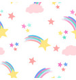 shooting stars and fluffy clouds vector image
