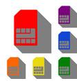 sim card sign set of red orange yellow green vector image