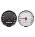 speedometer set kilometers and miles black and vector image