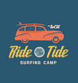 Surfing Woodie Car Retro Style Label or Logo vector image vector image