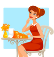 woman using typing machin vector image vector image