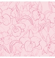 Seamless retro pattern with orchid vector image