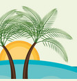 beach landscape with trees palms scene vector image vector image