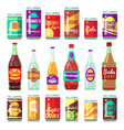 beverage soft and energy drinks flat icons vector image