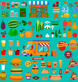 Big set of food icons Food truck Market vector image vector image