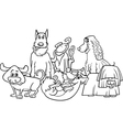 cartoon dogs group coloring page vector image vector image