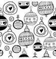 christmas balls pattern black seamless pattern vector image vector image