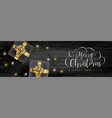 christmas web banner of gifts on wood background vector image