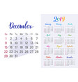 colorful planner 2019 december separately vector image vector image