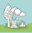 cute rabbit with happy sun and tree vector image vector image