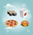 fast food realistic set isolated burger pizza vector image