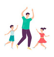 father and children dancing and having fun vector image