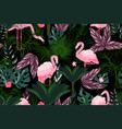 flamingo background cartoon wallpaper with exotic vector image