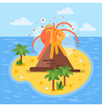 flat style of volcano on tropical island vector image vector image