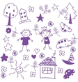 Happy child doodle art vector image