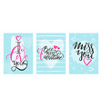 happy valentines day celebration greeting card set vector image vector image