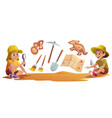 kids playing in archaeologists working excavations vector image