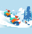 kids with ice floe ride down the hill in forest vector image