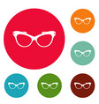 man spectacles icons circle set vector image vector image