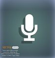 microphone icon symbol on the blue-green abstract vector image