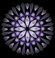 mystery mandala in intensiv ultra violet on black vector image vector image