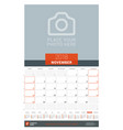 november 2018 wall monthly calendar planner for vector image vector image