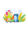 paper waste sorting design concept woman is vector image
