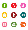 profession of the body icons set flat style vector image