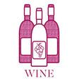 red wine bottles vector image
