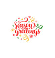 seasons greetings lettering on white background vector image