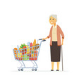 senior woman with a shopping cart - cartoon people vector image