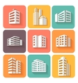 Set of dimensional buildings icons with shadow vector image