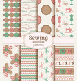 sewing and needlework seamless patterns set vector image