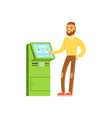 smiling man using electronic self service payment vector image vector image