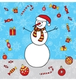 Snowman hand drawn background Winter Xmas vector image vector image