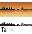 Tallinn skyline in orange background vector image vector image