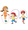 three kids jumping rope on white background vector image vector image