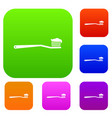 toothbrush set collection vector image vector image