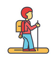 tourister traveler backpacker concept line vector image